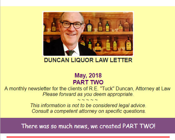 Duncan Liquor Law Letter Part Two - May 2018