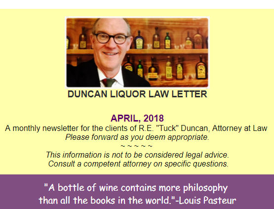 Duncan Liqour Law Newsletter - April 2018